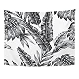 Breezat Tapestry Tropic Plants Floral Jungle Pattern of Summer Palm Banana Leaves in Black and White Gray Style Home Decor Wall Hanging for Living Room Bedroom Dorm 60x80 Inches