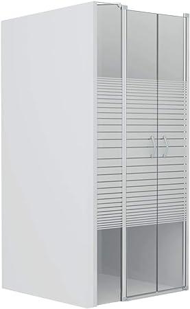 vidaXL Mampara Ducha Frontal 2 Puertas 1 Hoja Fija + 2 Pivotantes Serigrafiada Cristal Seguridad Vidrio Templado ESG Cabina Baño Esmerilada 120x185 cm: Amazon.es: Hogar