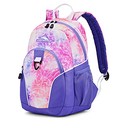 High Sierra Mini Loop Backpack for Preschool Kindergarten Elementary School Bag for Girls Boys, Unicorn Clouds/Lavender/White