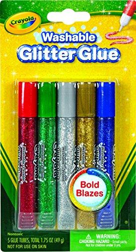 Crayola Washable Glitter Glue, Bold Blazes, Assorted Colors, Set of 5