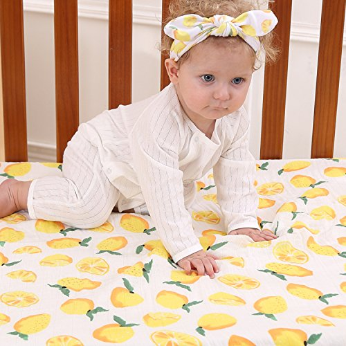 Newborn Baby Muslin Swaddle Blankets, Large Summer Bamboo Cotton Baby Blanket, Floral Receiving Blankets,Baby Blankets Unisex And Turban Headband For Boy or Girl,Lemon