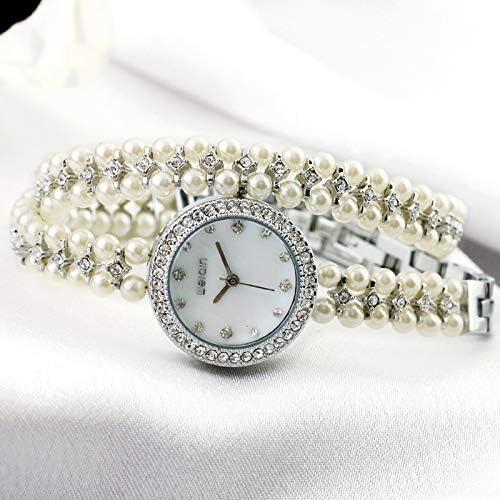DAZHE Montres Militaires Montre à Quartz, Bracelet pour Femme avec Bracelet en Perles et Diamant 1