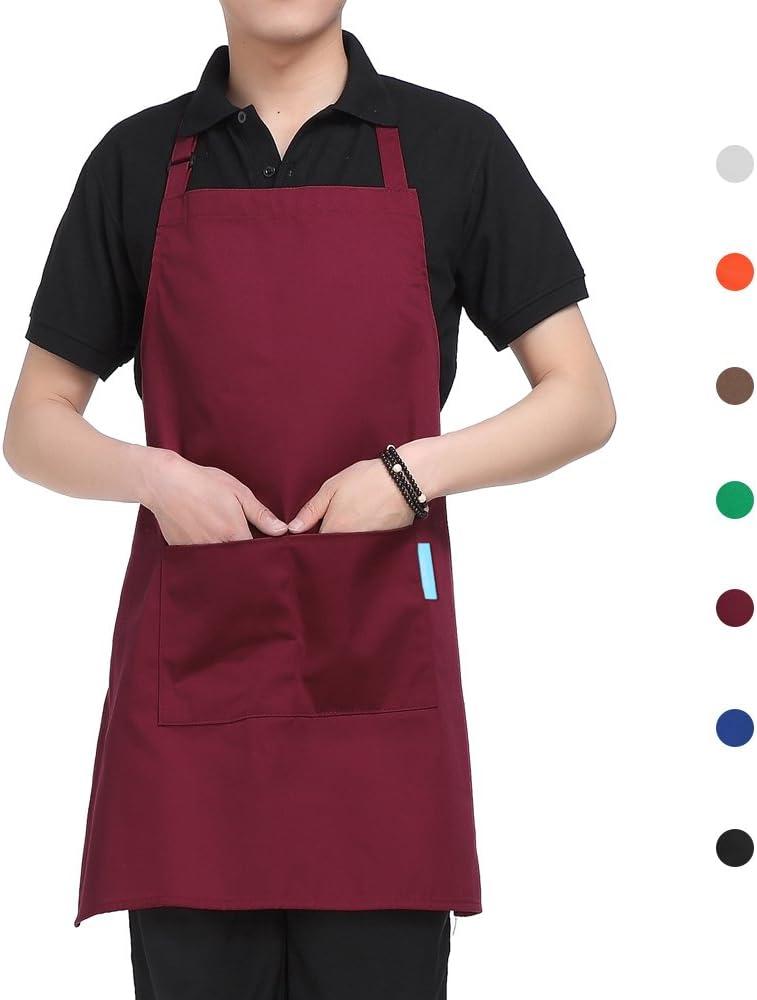 esonmus Delantal de Cocina de Poliéster con Tira de Cuello Ajustable y 2 Bolsillos para Hornear Jardinería Restaurante Barbacoa para Hombres y Mujeres (Rojo)