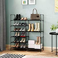 6 Tier Stackable Shoe Rack Storage Shelves,Portable Boot Rack Double Row Shoe Organizer, Shoe Cabinet Tower with Steel Frame