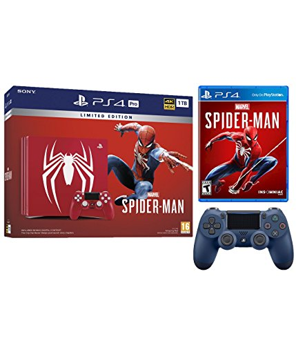 Playstation 4 Pro Marvel's Spider-Man Limited Edition Amazing Red 1TB Console and Extra Midnight Blue Dualshock Wireless Controller Bundle
