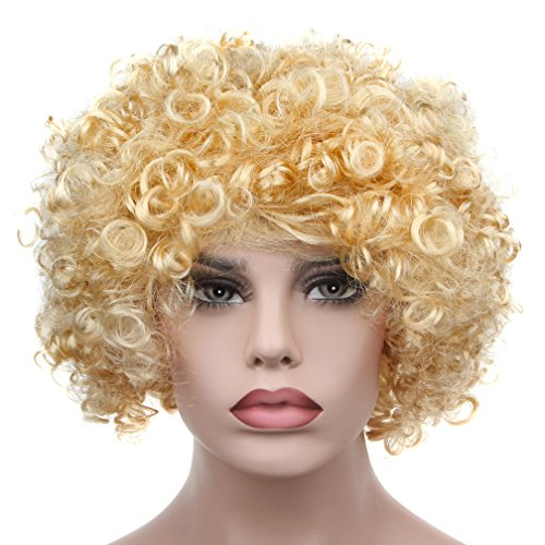 Afro Fluffy Wig Hair Curl Wigs Synthetic Fiber Hairpiece - Party Disco Clown Hair Football Fan Adult Child Costume Wig (Gold Afro Wig)