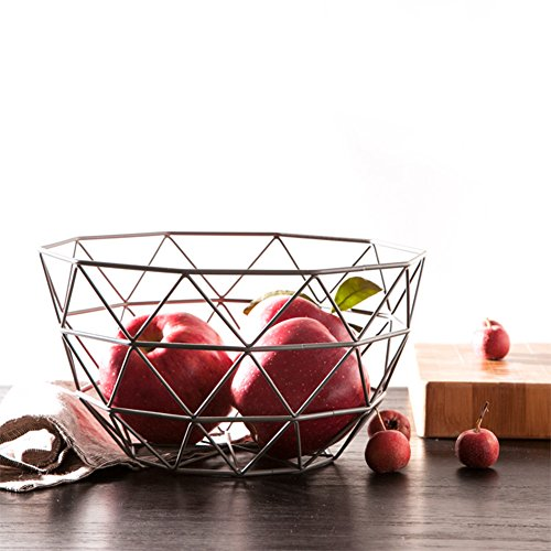 SuperB2C Silver Fruit Basket Countertop Fruit / Vegetable Basket Display Stand Metal Market Basket