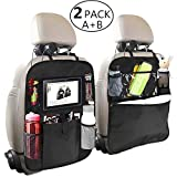 2 Pack Backseat Car Organizer for Kids, OYRGCIK Kick Mats Back Sear Car Protector with Multi Pocket Storage Bag Holder for iPad Tablet Bottle Drink Tissue Box Toys Vehicles Travel Accessories … (2 pack)