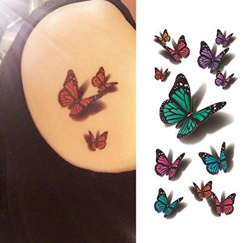 Oottati 3D Assorted Monarch Butterfly - Green Blue Purple Hand Temporary Tattoo (2 -