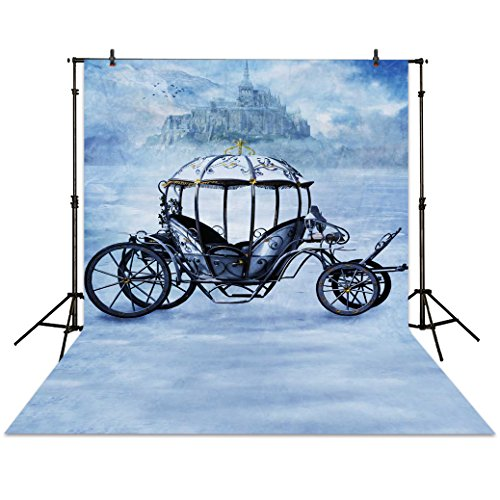 Funnytree 5x7ft Winter Carriage Photography Backdrop Castle Snowfield Wonderland Background for Princess Children Girls Portrait Baby Shower Birthday Party Fairytale Photocall Photo Booth Studio ()