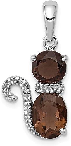 Jewelry Best Seller Sterling Silver Rhodium-plated Smoky Quartz Pendant