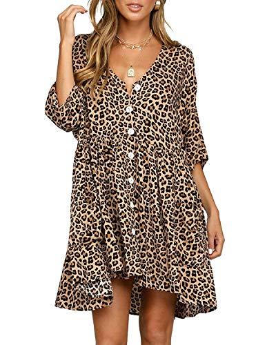 LANISEN Women Casual Button Down Ruffle V Neck Loose Swing Short Mini T Shirt Dresses with Pockets Leopard XL