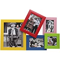 EC TEK Wooden Effect Photo Picture Frames Collage for Wall Hanging 5 Option (5- 10x 8, 7x5, 6x4, 4x4, 5x3.5) - Multicolor