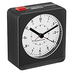 MARATHON CL030053BK/WH Classic Silent Sweep Alarm Clock with Auto Night Light. Batteries Included