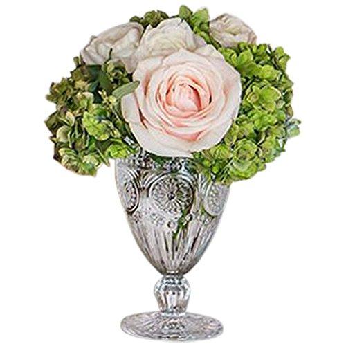 David's Bridal Short Vintage Pressed Glass Goblet Style 9763, Blush Pink