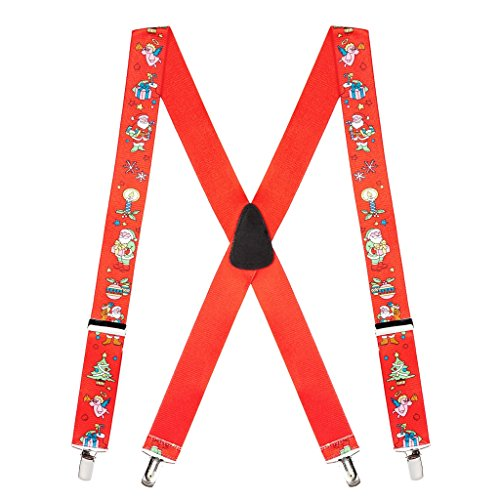 SuspenderStore Men's Santa on Red Suspenders - 1.5 Inch Wide Clip