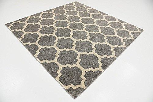Unique Loom Trellis Collection Moroccan Lattice Dark Gray Square Rug (6' x 6') (Rug Square Gray)