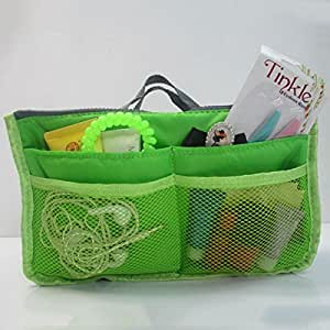 Portable Multiple Pockets Zipper Makeup Storage Bag Cosmetics Handbag Organizer Bag - Green