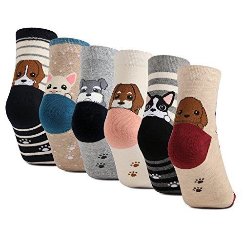 Haley Clothes Animal Socks Cotton Crew Socks Dog Socks for Women (6 Pairs) - Dog Themed Clothing