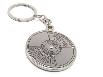 Oyedeal Silver Compass Date Perpetual with Calendar Up-To 50 Years Keyring  & Keychain