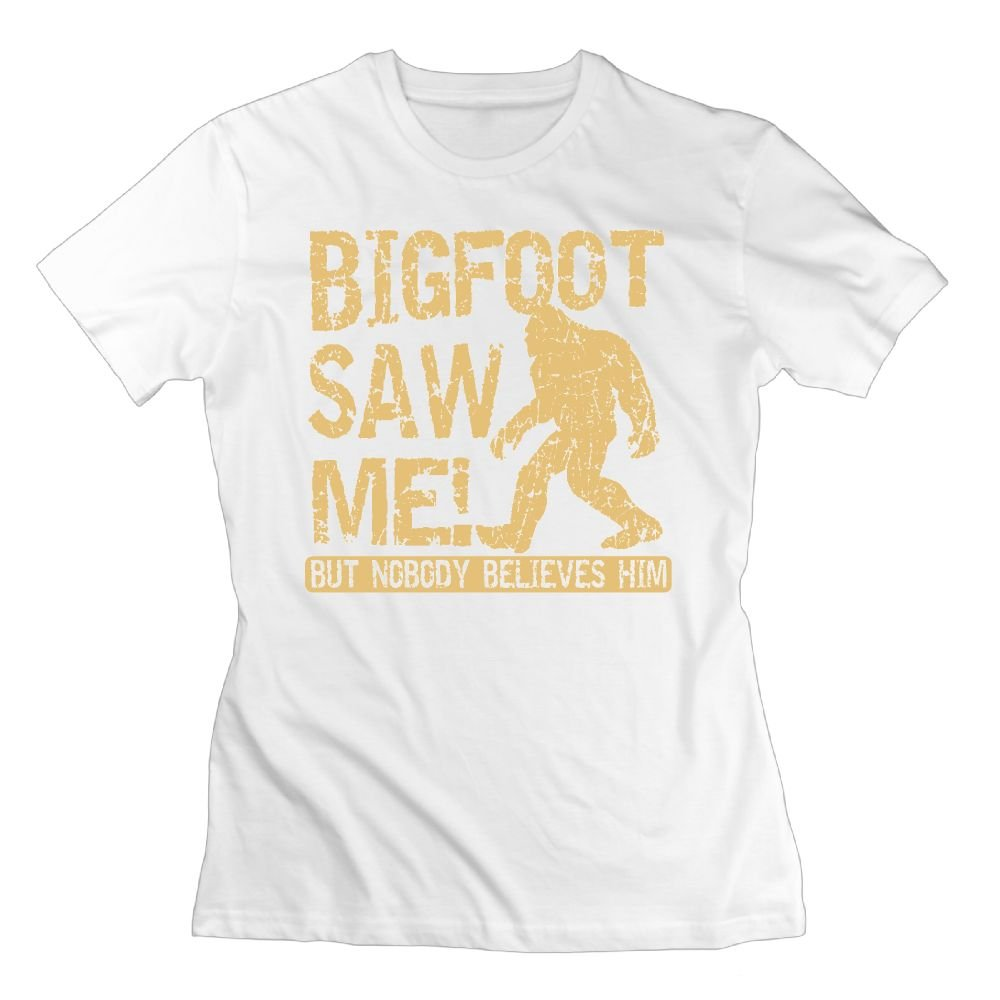 WuLion Bigfoot Saw Me But Nobody Believes him Women's Comfortable Short Sleeve T Shirt White
