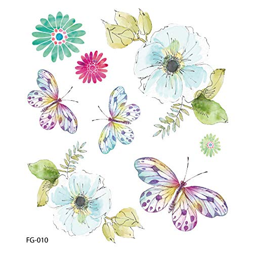 Women Temporary Tattoos Mixed Style Flowers Butterflies and Multi-Colored Waterproof Tattoo for Women Girls or Kids Fake Tattoos Flower Sticker for Arm Shoulders Waist Chest & Back (E)