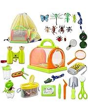 deAO 26-delige Buitenshuis Ontdekkings Speel Kit - Avontuur STEM Rugzak, Kompas, Verrekijker & Camping Insecten Vanger - Leuk voor kinderen