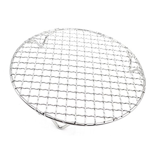 Stainless Steel Barbecue Grids Round Cross Wire Footed Steaming Cooling Rack 1 (Silver Cross Base)