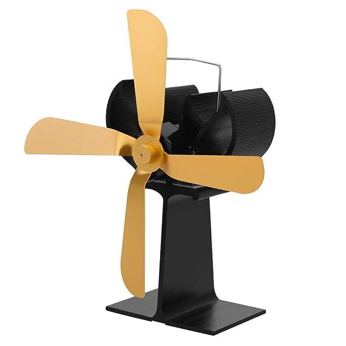FLAMEER Moderno Ventilador con 4 Aspas de Estufa de Leña de Madera Color Oro: Amazon.es: Jardín