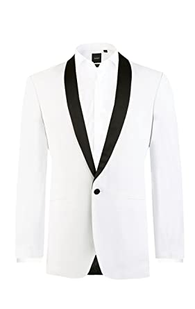 Amazon.com  Dobell Mens White Tuxedo Dinner Jacket Slim Fit Contrast ... 91d23594a0d9