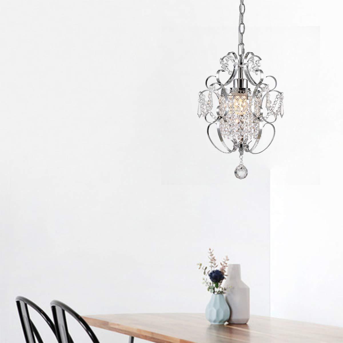 Living Room W11x H15 1 Light Chrome Foyer Bathroom Riomasee Crystal Chandelier Mini Elegant Pendant Light Iron Ceiling Light Fixture for Bedroom