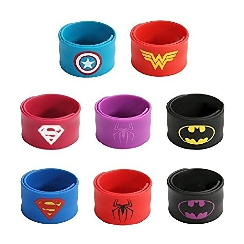 Superhero Slap Bracelets for Kids Boys & Girls Birthday Party Supplies Favors Wristband Accessories Wrist Strap (8 pack) (Superhero Outfit Toddler)