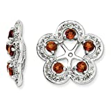 Perfect Jewelry Gift Sterling Silver Rhodium Diam. & Garnet Earring Jacket