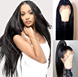 Chantiche 180% Density 360 Lace Wigs with High Ponytail and Baby Hair Pre-plucked Human Hair Wig Straight Brazilian Virgin Remy 360 Lace Frontal Wig for Women 18inches Natural Color