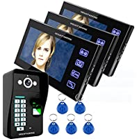 MOUNTAINONE Touch Key 7 Lcd Fingerprint Video Door Phone Intercom System Wth fingerprint access control 1 Camera + 3 Monitor