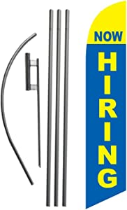 Now Hiring Flag Advertising Feather Banner Swooper Flag Sign with Flag Pole Kit and Ground Stake