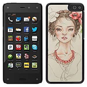 LECELL--Funda protectora / Cubierta / Piel For Amazon Fire Phone -- perla floral chica retrato de la moda de color beige --