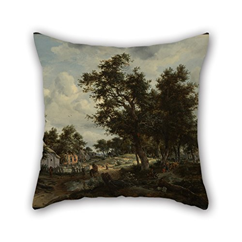 Artistdecor Cushion Covers Of Oil Painting Meindert Hobbema (Dutch - A Wooded Landscape With Travelers On A Path Through A Hamlet 20 X 20 Inches / 50 By 50 Cm,best (Wooded Olive)