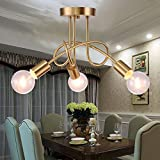 LightInTheBox 3 Heads Copper Multiple Rod Ceiling Dome Lamp Creative Personality Retro Flush Mount Living Room Dining Room Ceiling Light