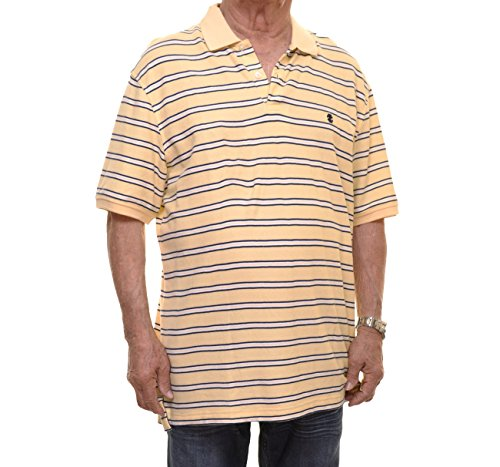 Izod Mens Pique Striped Polo Shirt Yellow L (Izod Striped Polo Shirt)