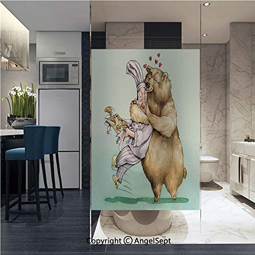 Non-Adhesive Privacy Window Film Big Bear Fully Hugs The Pastry Animal Love Humor Satire Romance Theme Artful Door Sticker Glass Film 22.8 in. by 35.4in. (58cm by 90cm),Cream Blue Grey