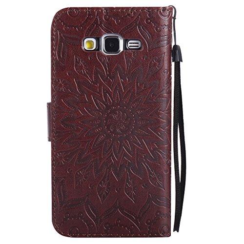 Funda Samsung Galaxy S3 i9300 / S3 Neo Case , Ecoway Girasoles patrón en relieve PU Leather Cuero Suave Cover Con Flip Case TPU Gel Silicona,Cierre Magnético,Función de Soporte,Billetera con Tapa para marrón
