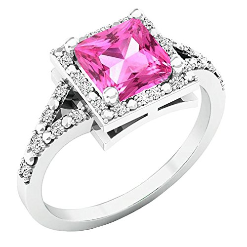 Ring Sapphire Pink Princess (Sterling Silver 6 MM Princess Lab Created Pink Sapphire & Round Diamond Engagement Ring (Size 6.5))
