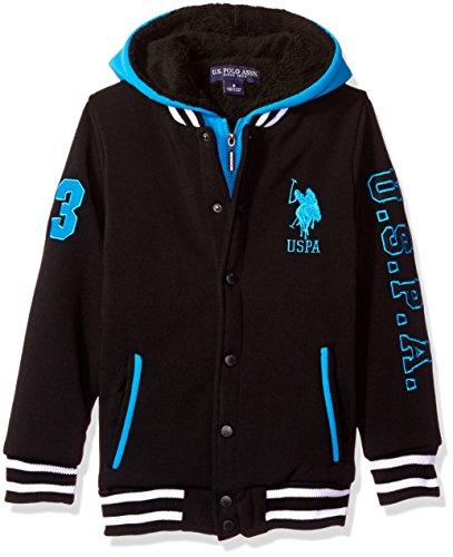 U.S. Polo Assn. Boys' Little Boys' Sherpa Lined Fleece Hoodie, Turquoise, 7 Image