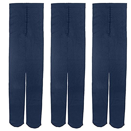 Baby Girl Kid Child Thick Winter Fleece Dance Footed Pants Tights Leggings Blue (3 Pack) 4-5 Years Old