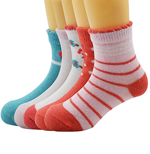 Zando Baby Toddler Non-Skid Lovely Animal Colorful Cotton Casual Crew Socks C 5 Pairs L(4-6 years old)