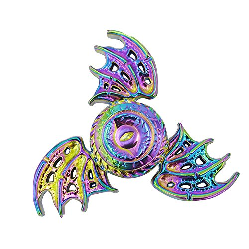 OLD TEUCER Rainbow Bat Wings Eagle Eye EDC Tri Fidget Hand Spinner Fingertip Gyro Desk Focus Toy For Adults (Adult Bat Wings)