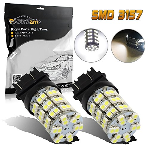 Partsam Pack2 3157 3156 4114 Xenon White Backup Light Reverse Lamps Daytime Running Light DRL LED 60-3528-SMD Ultra Bright Car Led For Dodge Chevrolet