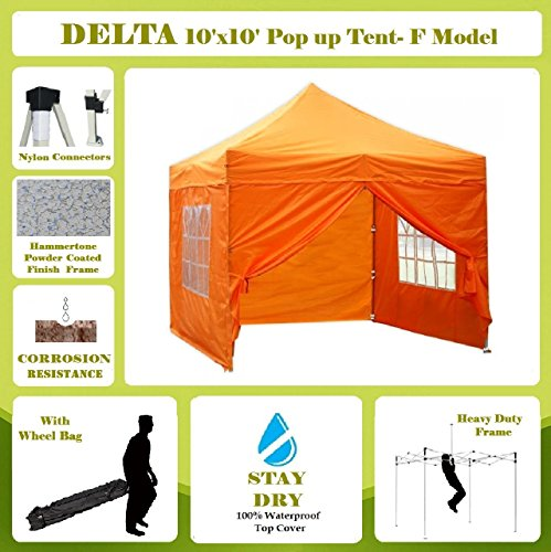 10'x10′ Pop up 4 Wall Canopy Party Tent Gazebo EZ Orange – F Model Upgraded Frame By DELTA Canopies For Sale
