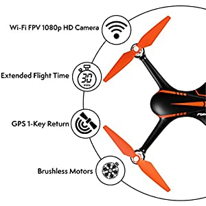 Force1 Drone with Camera Live Video and GPS Return Home Brushless Motors HD Drone 1080p Camera FPV MJX B2W Bugs 2 Quadcopter (Certified Refurbished) from Force1